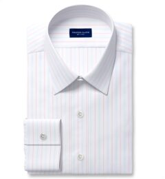 Varese 140s Light Blue and Coral Multi Stripe Fitted Shirt