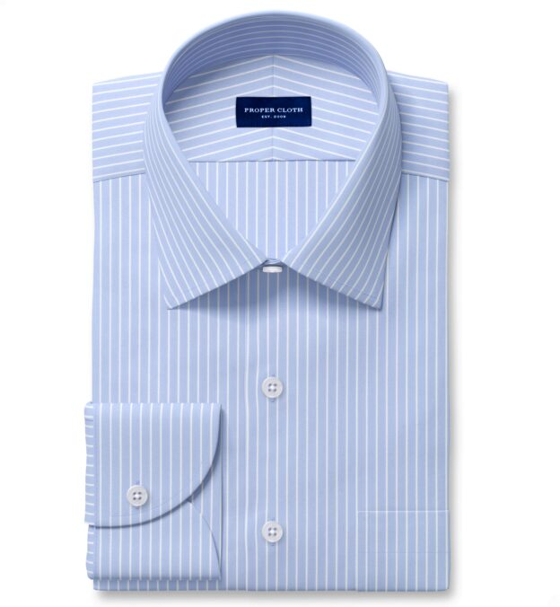 Performance Light Blue Reverse Stripe Fitted Dress Shirt