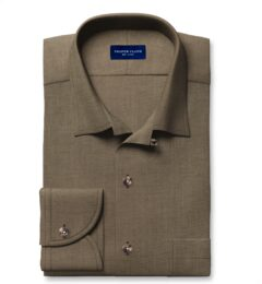 Albiate Khaki Washed Cotton and Linen Denim Fitted Shirt