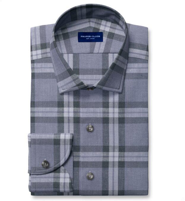 Bondi Slate Plaid Linen Blend Fitted Dress Shirt