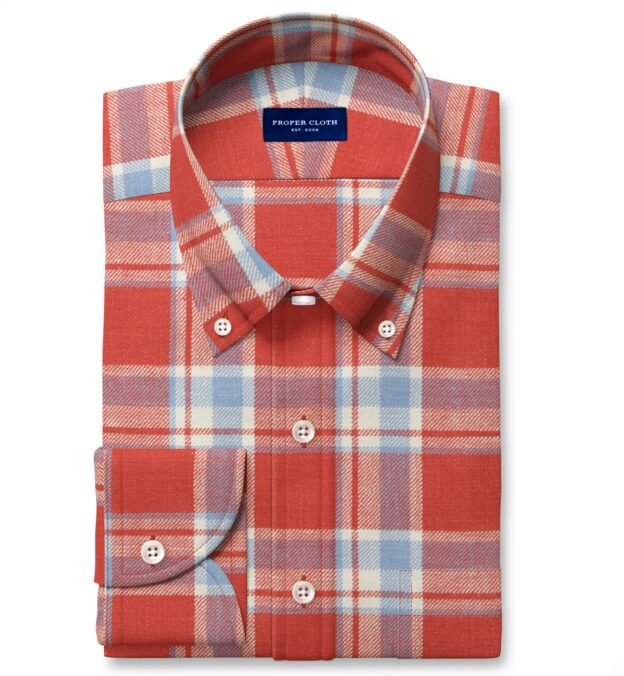 Japanese Washed Tomato and Sky Country Plaid Custom Made Shirt