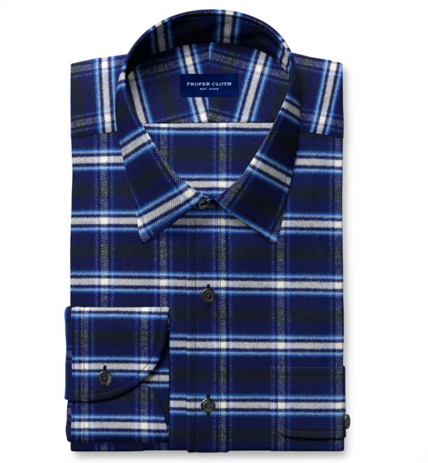 Whitney Navy and Royal Blue Plaid Flannel Men's Dress Shirt