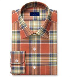 Japanese Tomato and Blue Cotton and Linen Plaid Custom Dress Shirt