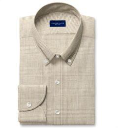 Di Sondrio Beige Natural Dye Glen Plaid Linen Custom Dress Shirt