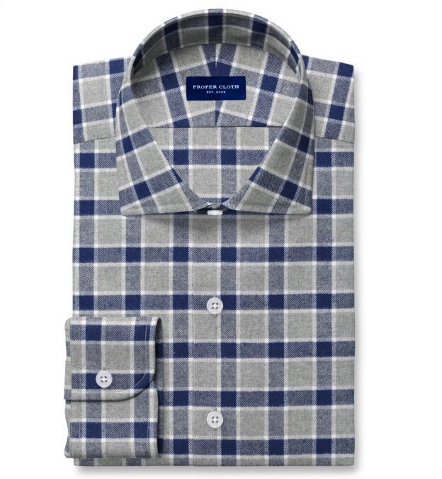 Navy and Grey Check Flannel Fitted Shirt