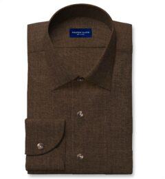 Albini Washed Mocha Linen Twill Custom Made Shirt