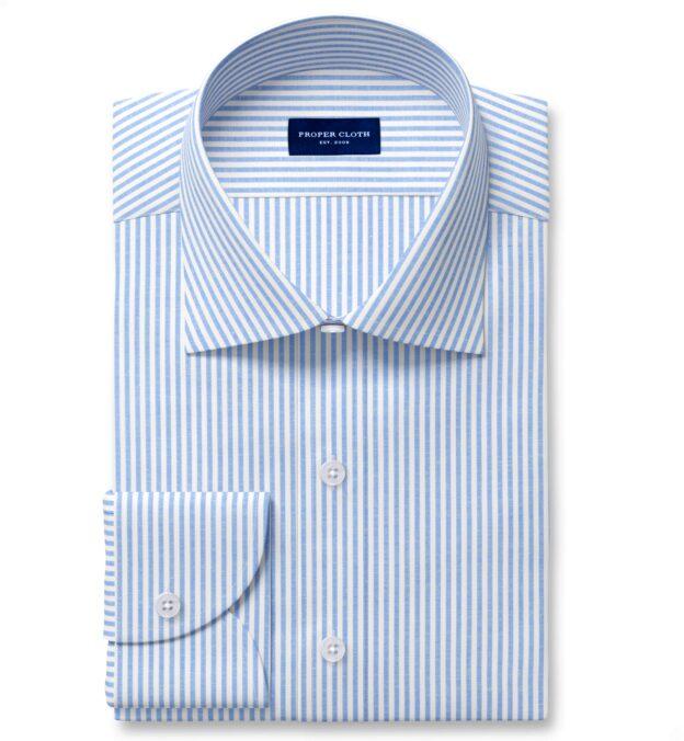Blue Linen Blend Bengal Stripe Twill Fitted Shirt