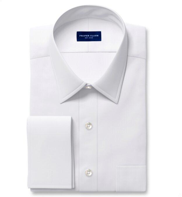 White Diagonal Jacquard Custom Dress Shirt