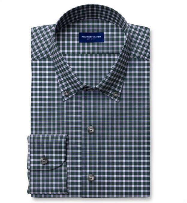 Thomas Mason Non-Iron Forest Small Check Tailor Made Shirt