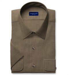 Albiate Khaki Washed Cotton and Linen Denim Short Sleeve Shirt