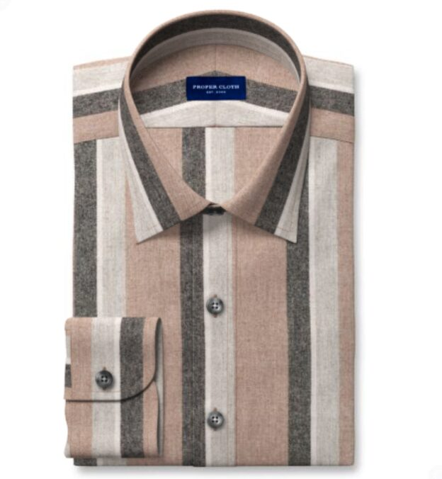 Canclini Camel Shadow Stripe Beacon Flannel Fitted Shirt