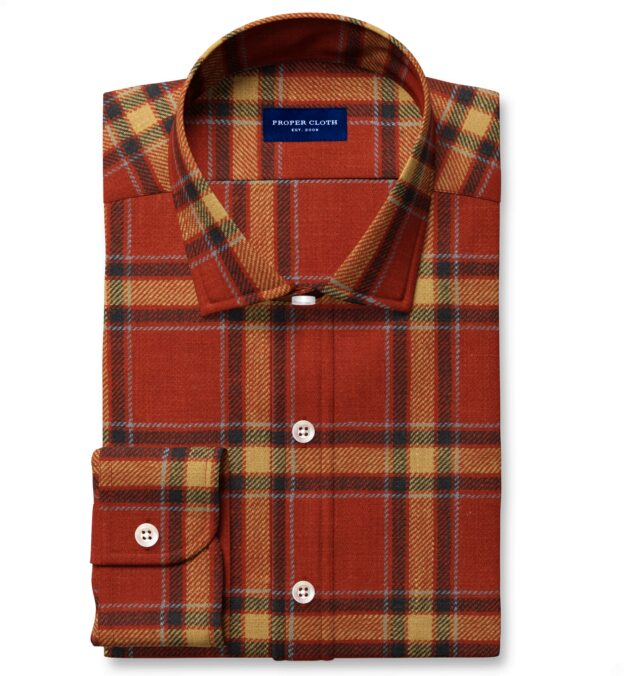 Japanese Washed Scarlet and Gold Country Plaid Custom Dress Shirt