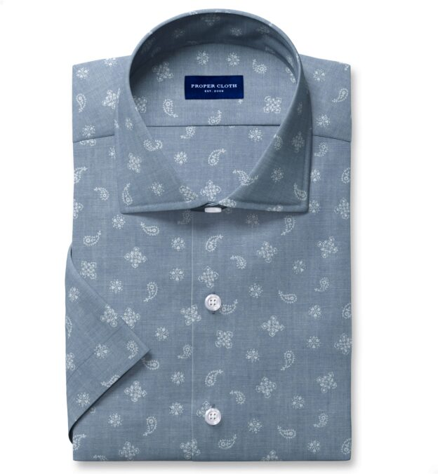 Light Blue Chambray Bandana Print Short Sleeve Shirt