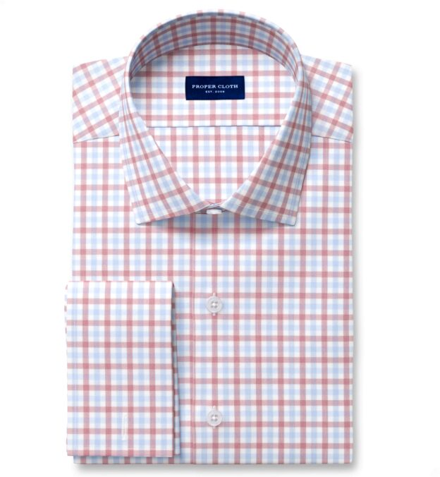 Cooper Red and Blue Check Stretch Twill Fitted Dress Shirt