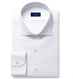 Varese 140s Light Blue and Coral Multi Stripe Fitted Dress Shirt