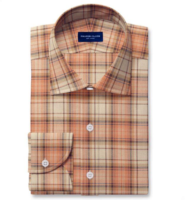 Ecru and Salmon Indian Madras Custom Dress Shirt