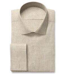 Di Sondrio Beige Natural Dye Glen Plaid Linen Tailor Made Shirt