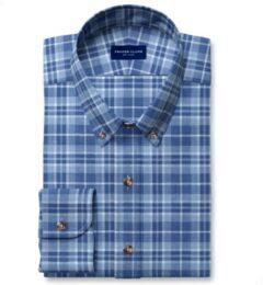 Blue Cotton and Linen Slub Plaid Fitted Dress Shirt