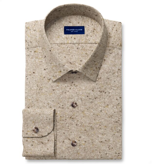Japanese Beige Blanket Twill Fitted Dress Shirt