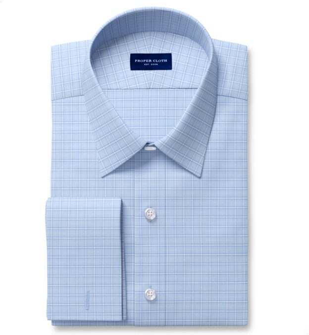 Non-Iron Stretch Light Blue Grid Fitted Shirt