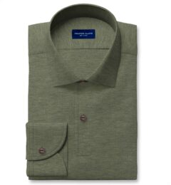 Canclini Melange Green Knit Pique Dress Shirt