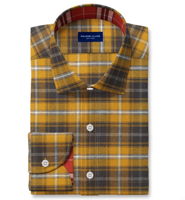 Gold and Charcoal Large Plaid Flannel Fitted Dress Shirt