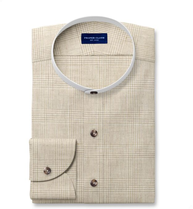 Di Sondrio Beige Natural Dye Glen Plaid Linen Custom Made Shirt