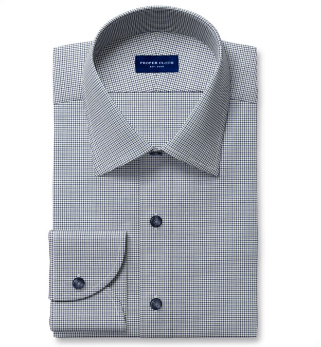 Non-Iron Stretch Green and Blue Houndstooth Check Dress Shirt
