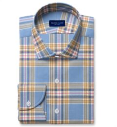 Japanese Cornflower and Gold Cotton and Linen Plaid Fitted Shirt