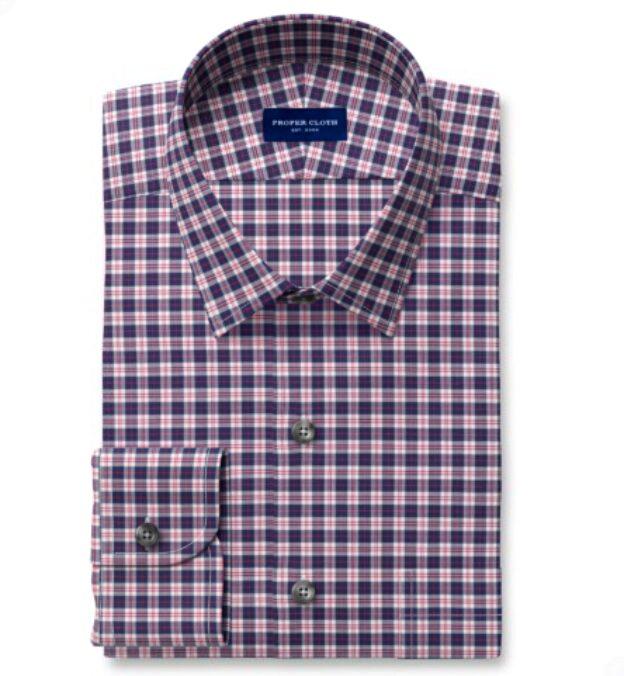 Thomas Mason Non-Iron Navy and Red Multi Check Tailor Made Shirt