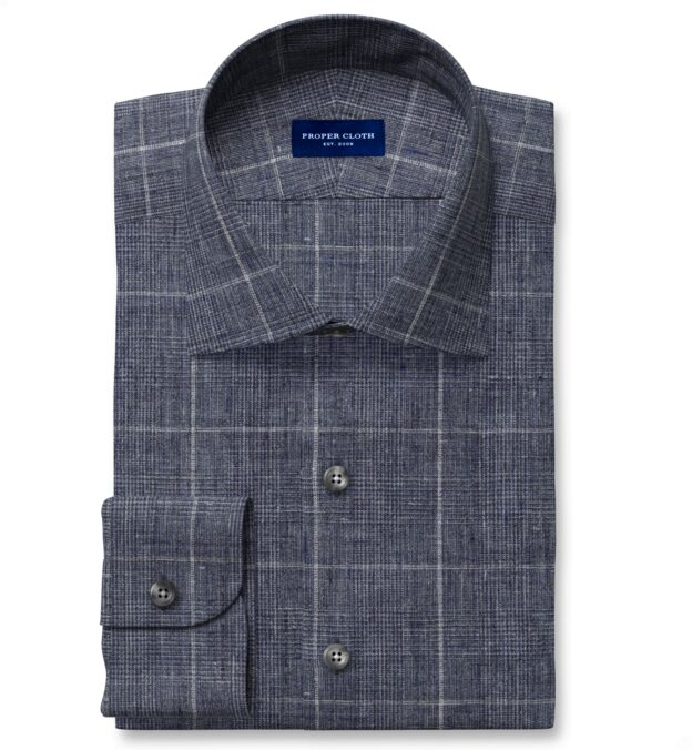 Tessuti di Sondrio Washed Slate Blue Delave Plaid Linen Fitted Shirt