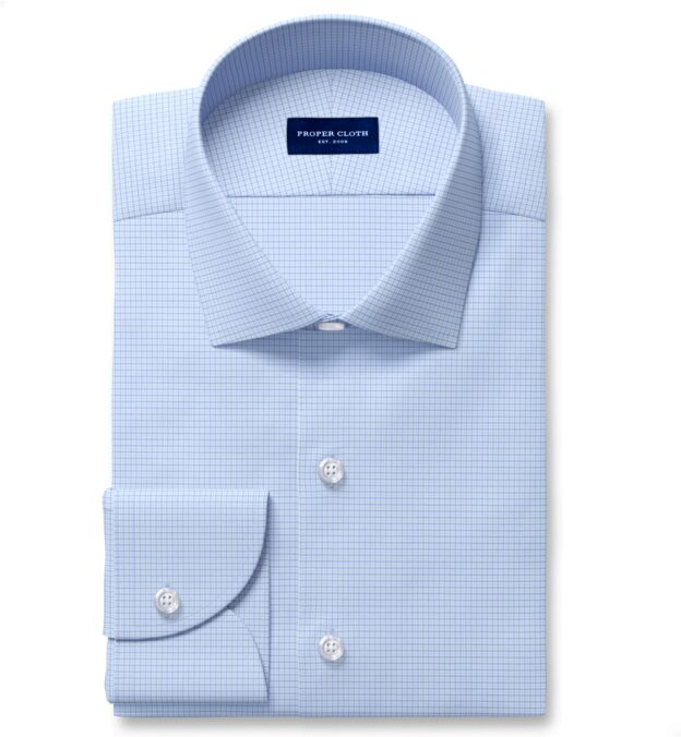 Performance Light Blue and Blue Micro Check Fitted Dress Shirt