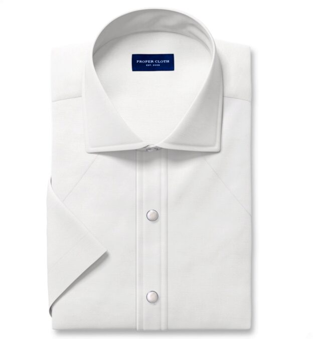 Albini Washed Natural White Linen Twill Short Sleeve Shirt