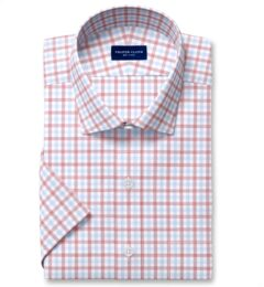 Cooper Red and Blue Check Stretch Twill Short Sleeve Shirt