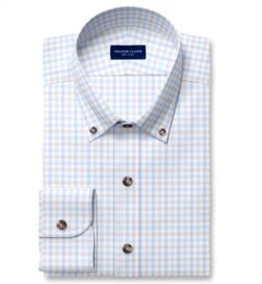 Cooper Light Grey and Blue Check Stretch Twill Dress Shirt
