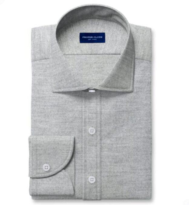Albini Light Grey Tencel Blend Herringbone Flannel Tailor Made Shirt