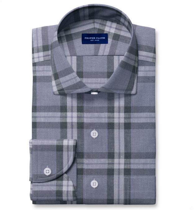 Bondi Slate Plaid Linen Blend Fitted Shirt
