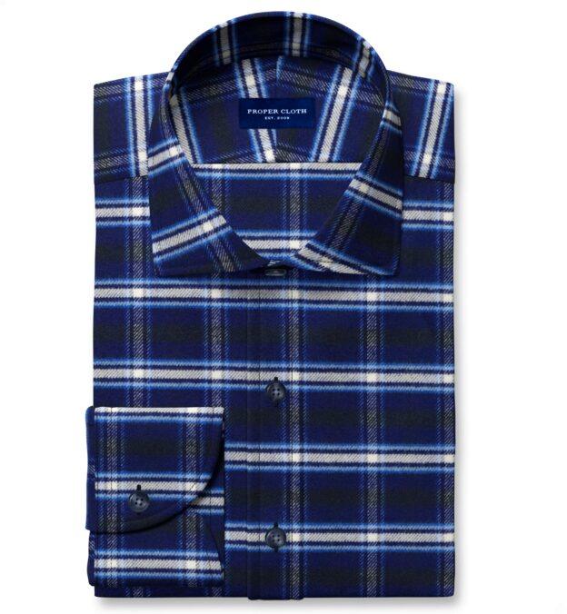 Whitney Navy and Royal Blue Plaid Flannel Custom Dress Shirt