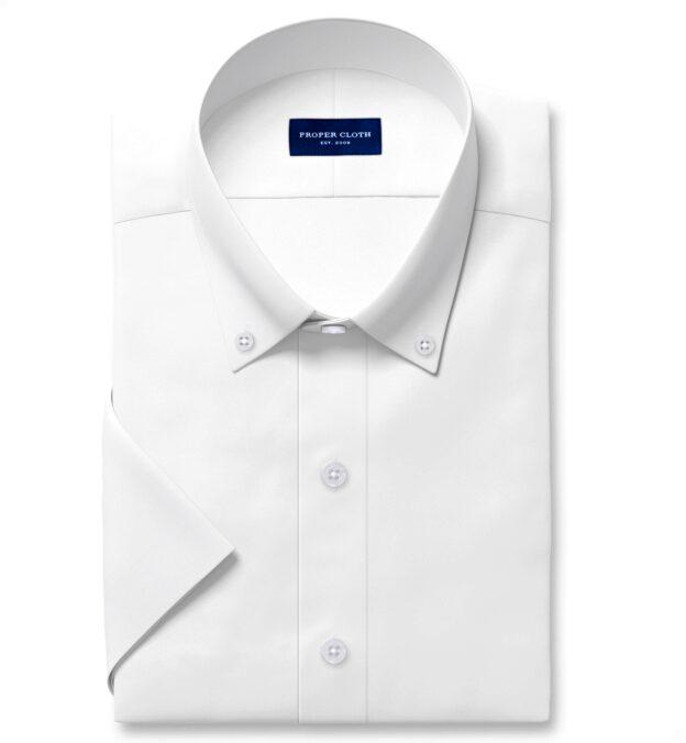 Thomas Mason Non-Iron White Pinpoint Short Sleeve Shirt