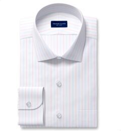 Varese 140s Light Blue and Coral Multi Stripe Dress Shirt