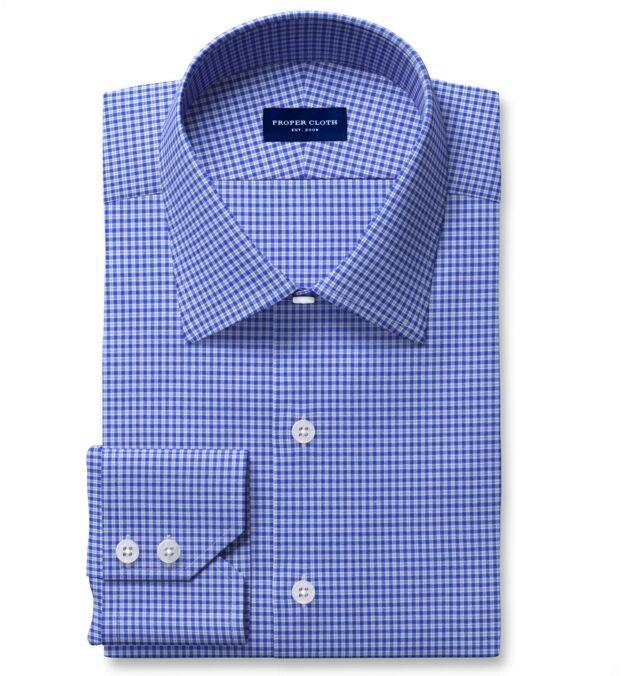 Thomas Mason Non-Iron Stretch Dark Blue Small Check Men's Dress Shirt