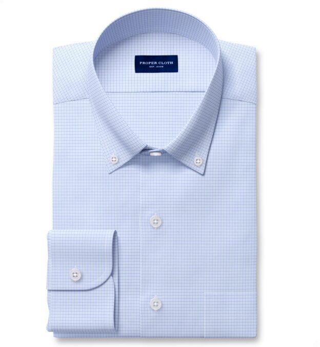 Performance Light Blue and Lavender Micro Check Men's Dress Shirt