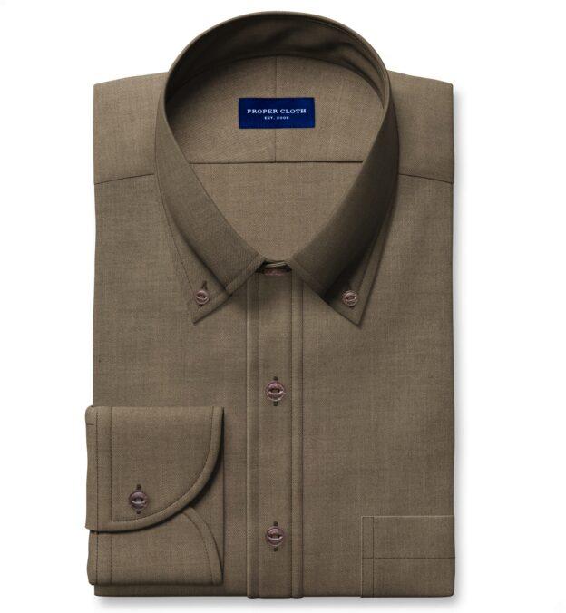 Albiate Khaki Washed Cotton and Linen Denim Dress Shirt