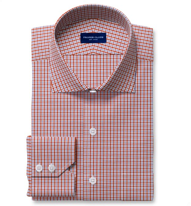Performance Scarlet and Navy Small Check Fitted Dress Shirt