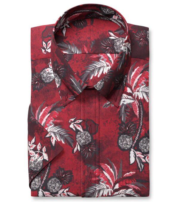 Albini Red Palm Tree Print Tencel Short Sleeve Shirt