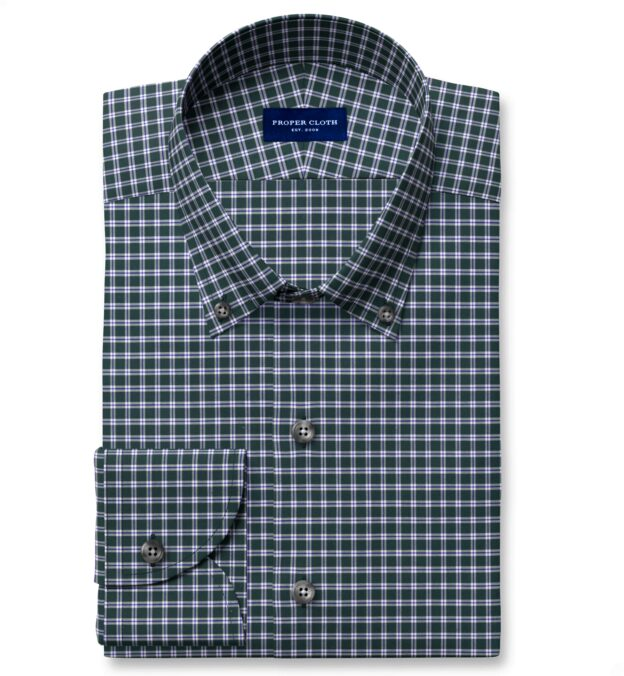 Thomas Mason Non-Iron Forest Small Check Fitted Shirt