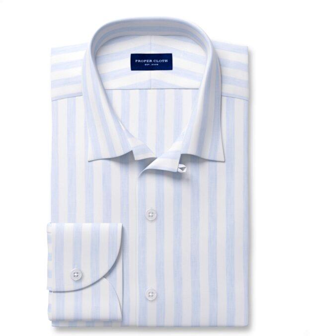 Bondi Light Blue Stripe Linen Blend Custom Dress Shirt