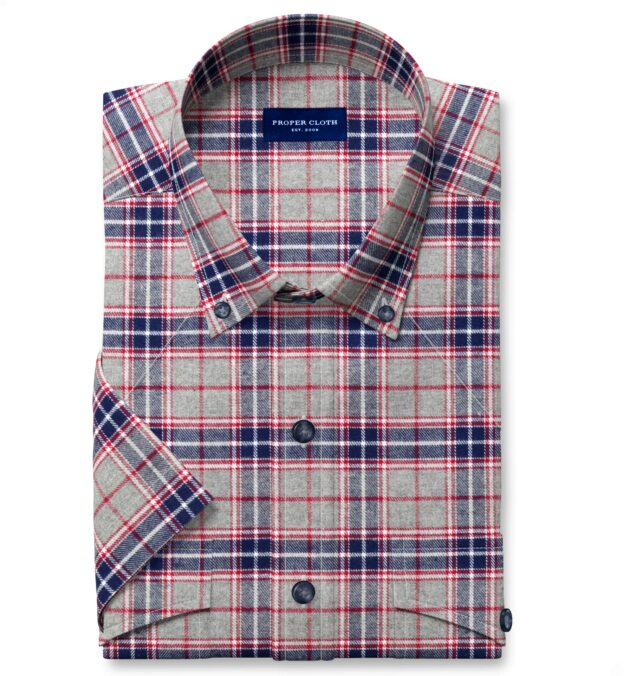 Sierra Red Navy and Grey Plaid Flannel Short Sleeve Shirt
