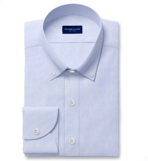 Thomas Mason Blue End-on-End Stripe Custom Dress Shirt