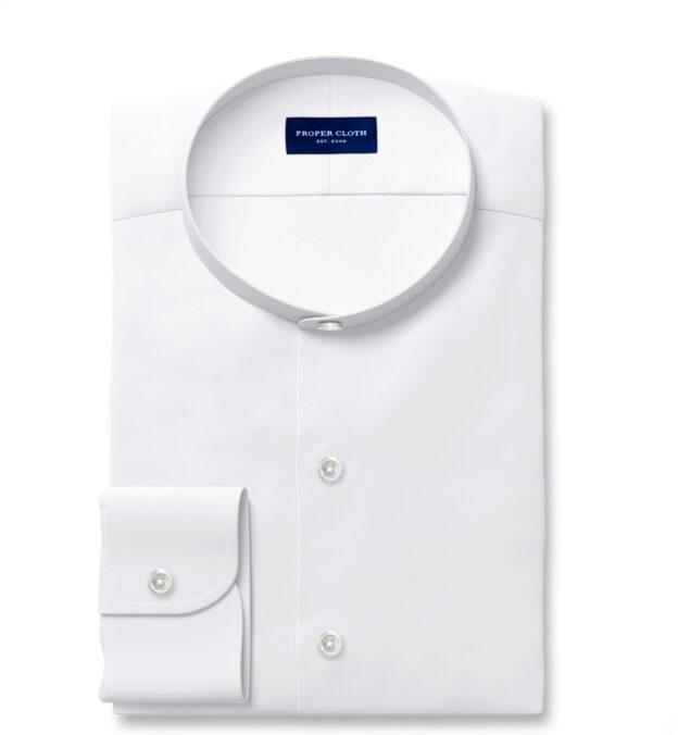 Albiate White Cotton Linen Denim Dress Shirt